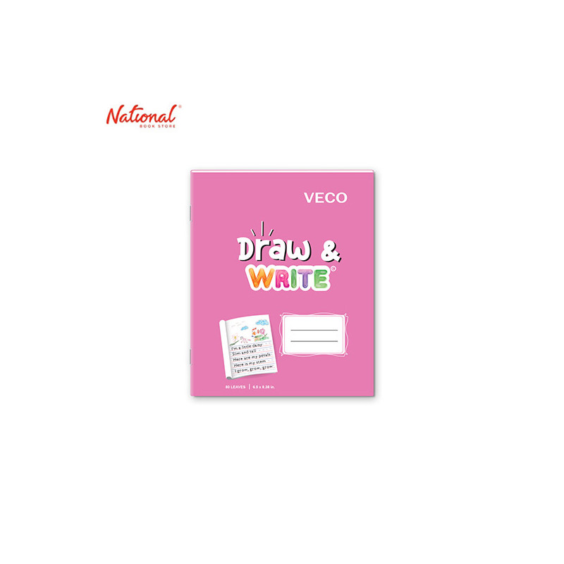 DRAW & WRITE WRITING NOTEBOOK 6.5X8.4 80S PINK
