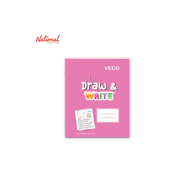 DRAW & WRITE WRITING NOTEBOOK 7.5X9.75 80S PINK