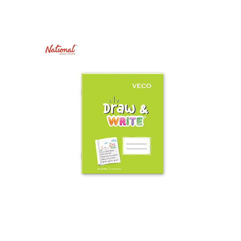 DRAW & WRITE WRITING NOTEBOOK 7.5X9.75 80S LIME GREEN